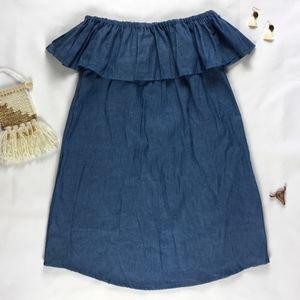 Cimarron's Closet Dresses - 🚫SOLD🚫Off Shoulder Chambray Dress